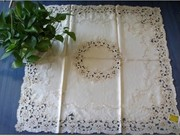 Gorgeous Embroidered Cutwork Light Golden Table Cloth36